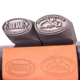Two Custom Handheld Steel Maker Stamps and stamped marks