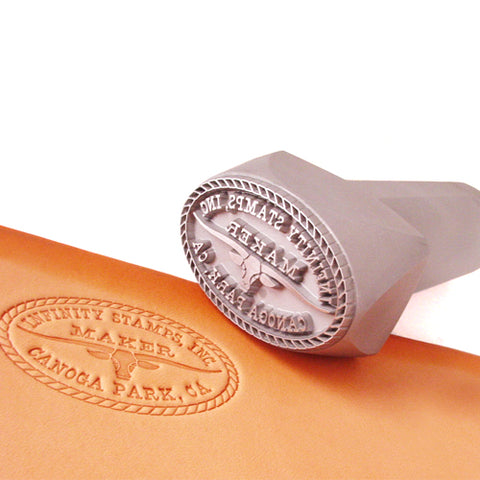 Closeup of Custom Handheld Steel Maker Stamp