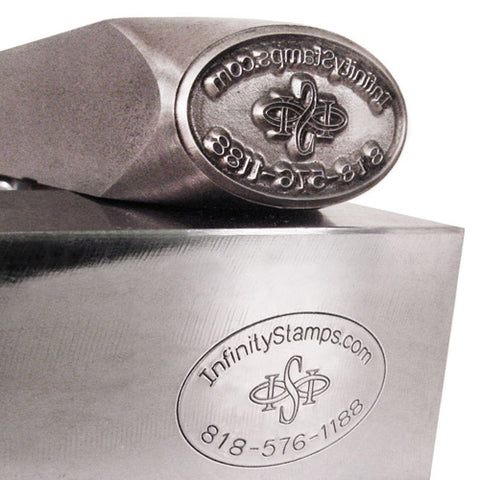 Closeup of Custom Steel Hand Stamp for Metals and impression