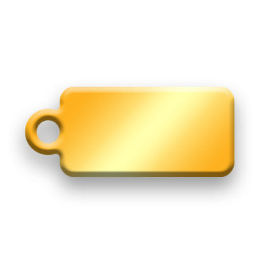 14k Gold Plated Jewelry Tag C - Rendered Image