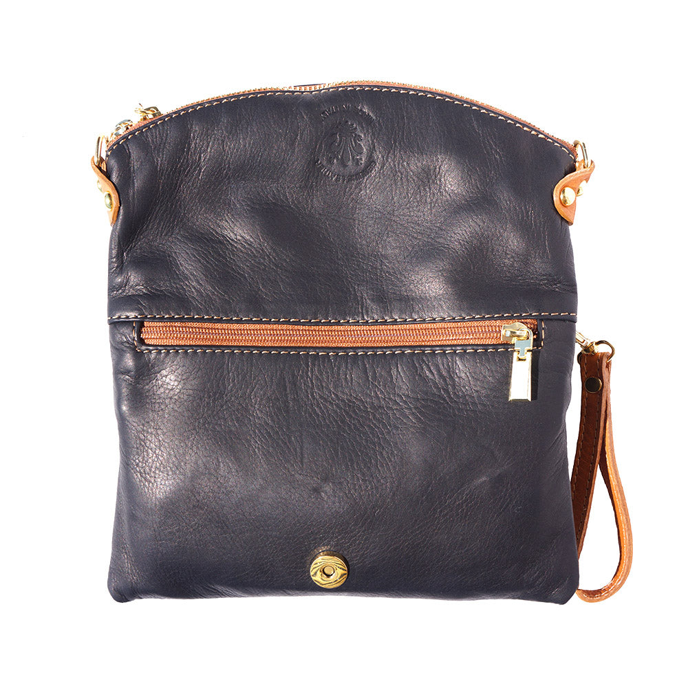 CROSS BODY AND FOLDED CLUTCH SOFT CALF-SKIN LEATHER BAG MADE IN ITALY