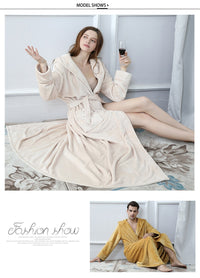 Thermal Hooded extra Long Flannel Bathrobe for Women and  Men