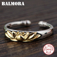 Solid 925 Sterling Silver Lotus Flower Ring