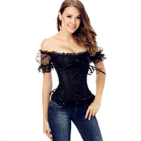 Women's Gothic Brocade Overbust Bustier Lace up Boned Corset with Lace Sleeves