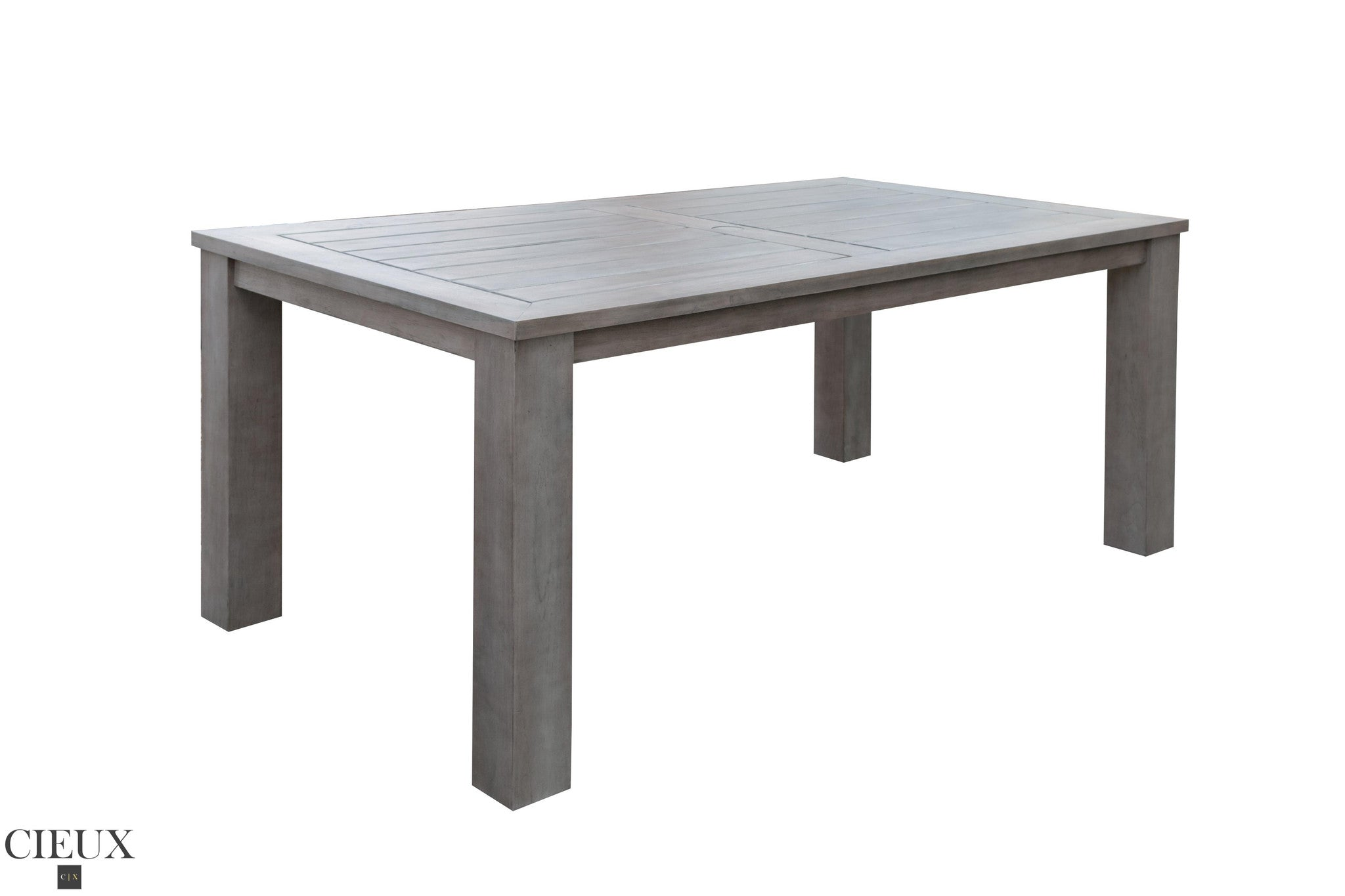 Grey Wicker Chairs champagne weathered teak table with four grey wicker chairs - cieux