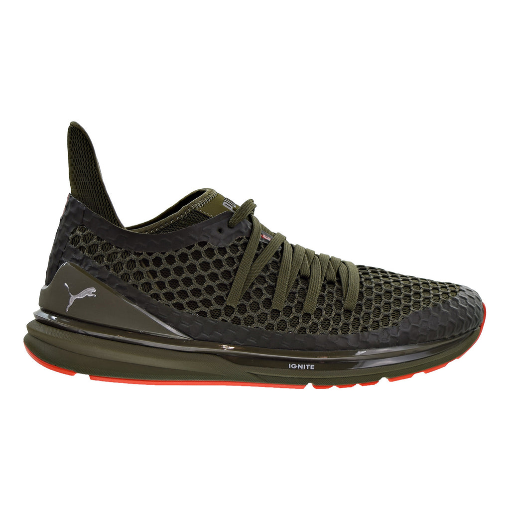Puma Ignite Limitless Netfit Men's Shoes Olive Night/Cherry Tomato