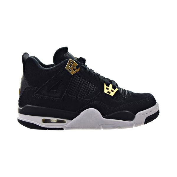 "Air Jordan 4 Retro BG ""Royalty"" Big Kids' Shoes Black-Metallic Gold-White"