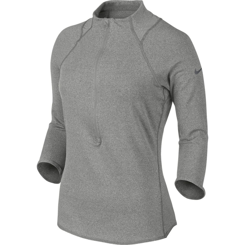 Nike Baseline Half-Zip Women's Tennis Top Dark Heather/Dark Grey