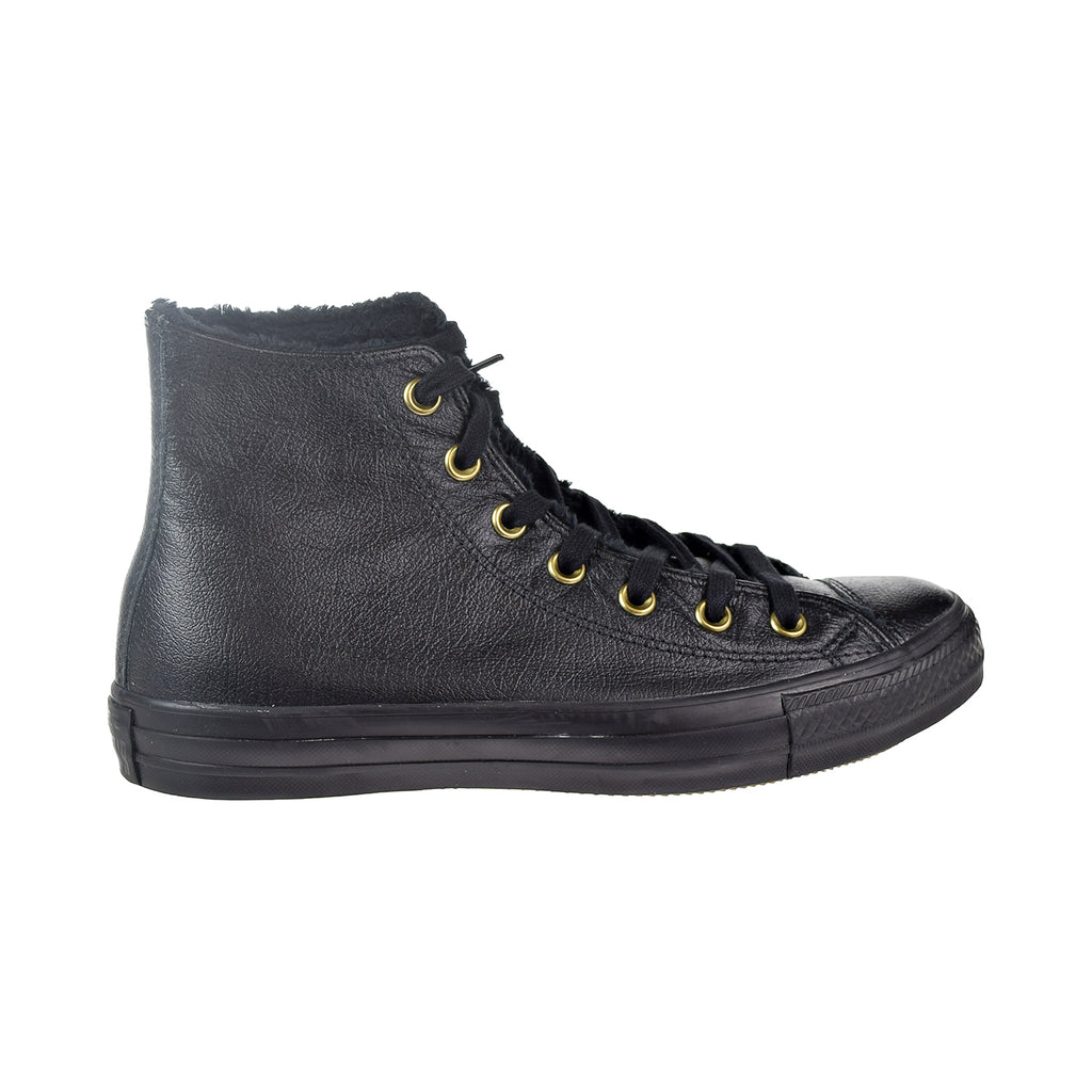 Converse Chuck Taylor All Star High Winter Knit Leather Fur Women's Shoes Black