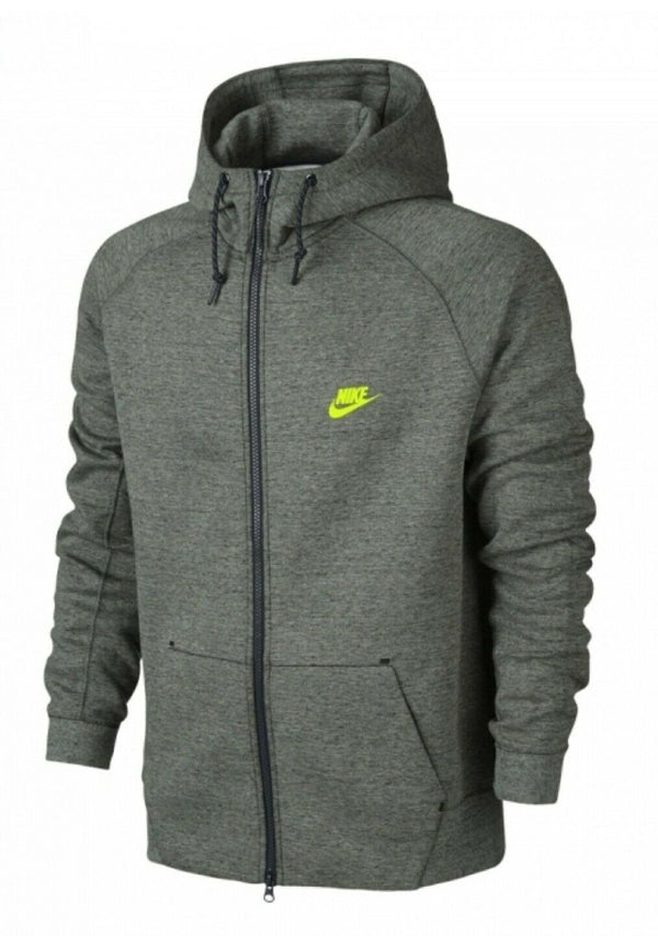 Nike Tech Fleece AW77 Full Zip Men's Hoodie Dark Grey-Black-Volt