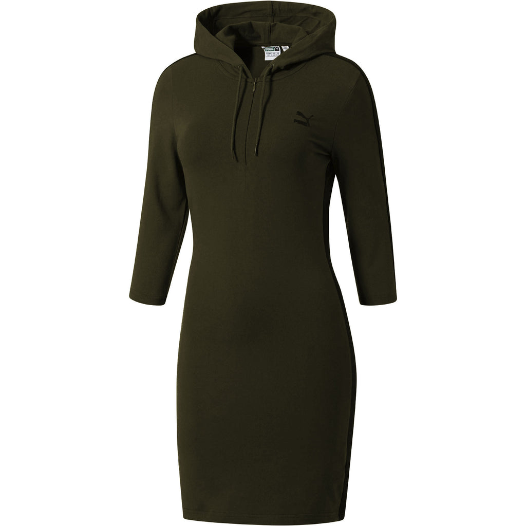 Puma T7 Women's 3/4 Sleeve Hooded Dress Olive Night/Black