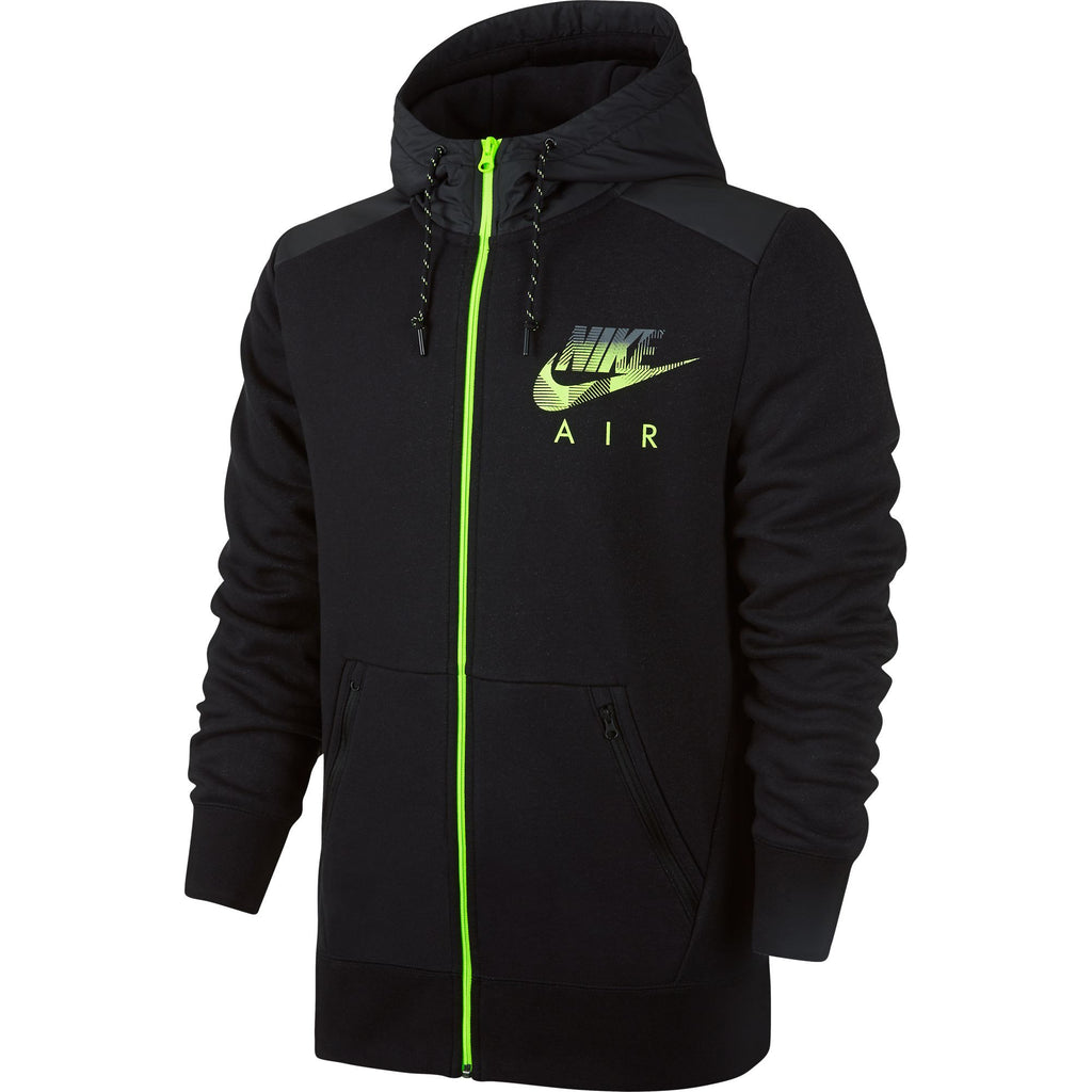 Nike Men's AW77 Fleece Full-Zip Hybrid Hoodie Black Heather/Volt