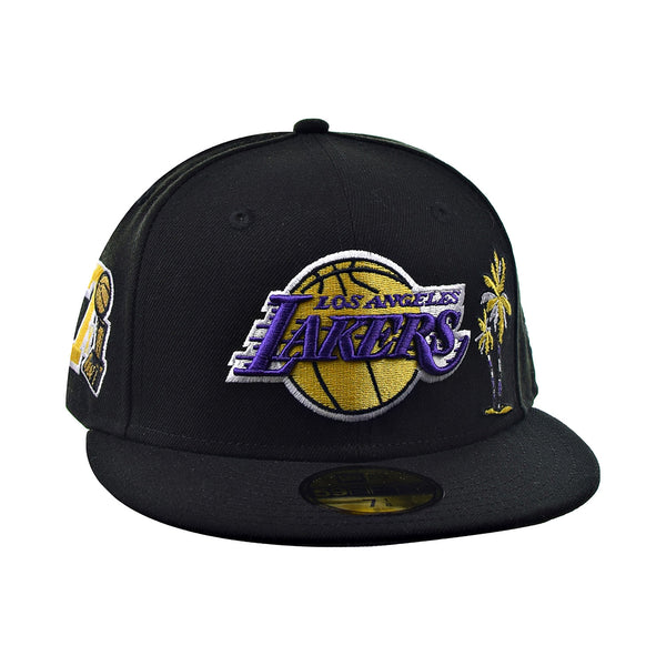 New Era 59Fifty Los Angeles Lakers 17x Purple Bottom Men's Fitted Hat Black