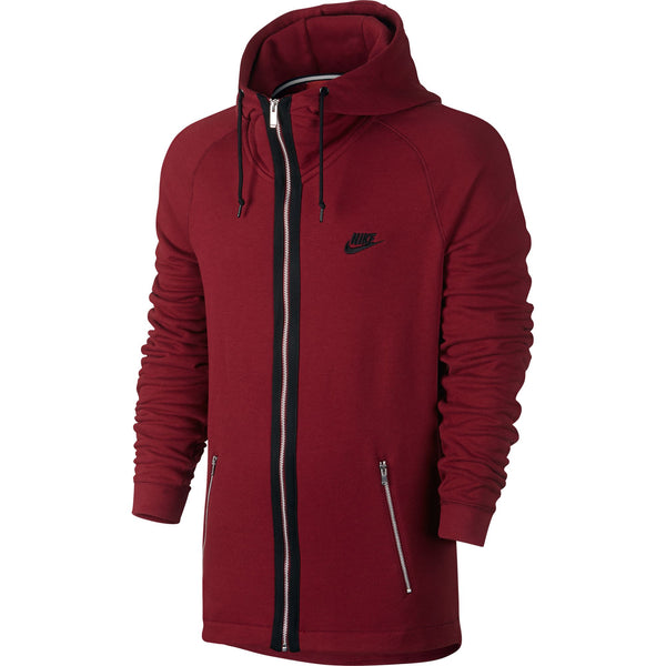 Nike Modern Fit Full Zip Men's Hoodie Burgundy-Black