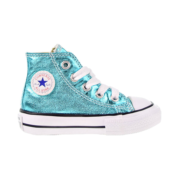 Converse Chuck Taylor All Star High Metallic Toddler Shoes Fresh Cyan-White