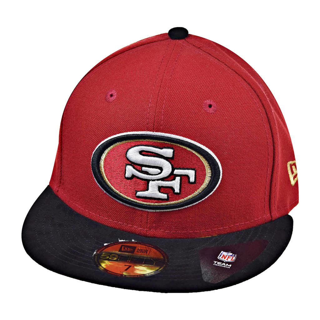New Era San Fransisco 49ers Team Suede 59Fifty Men's Fitted Hat Cap Red/Black