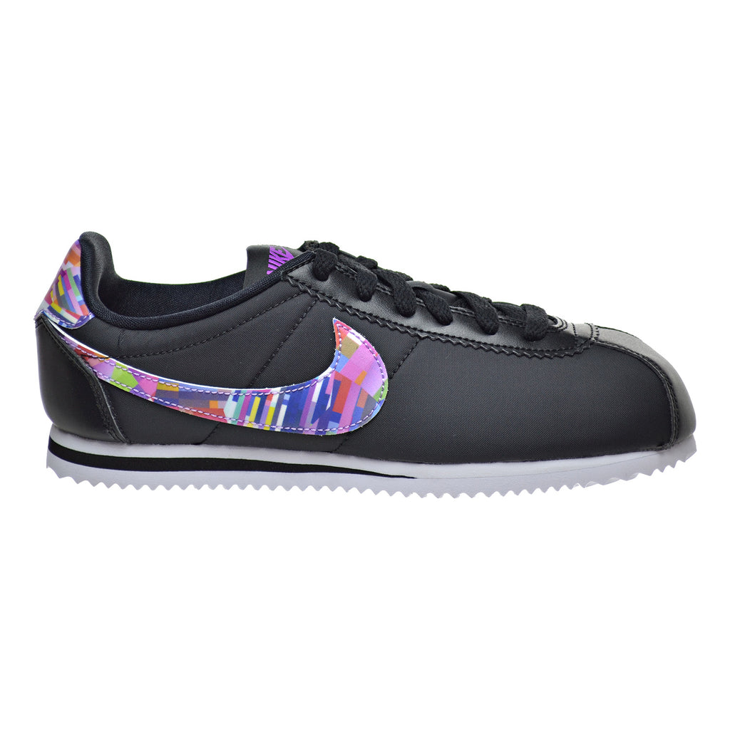 Nike Cortez Nylon Print (GS) Big Kid's Shoes Black/Hyper Volt/White