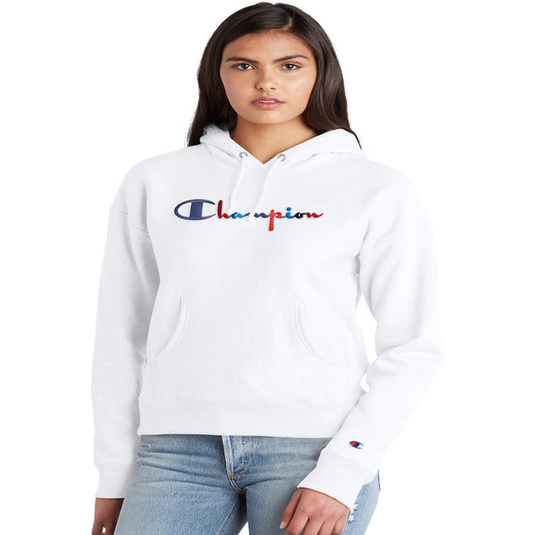 Champion Reverse Weave Fleece Women's Pullover Hoodie White