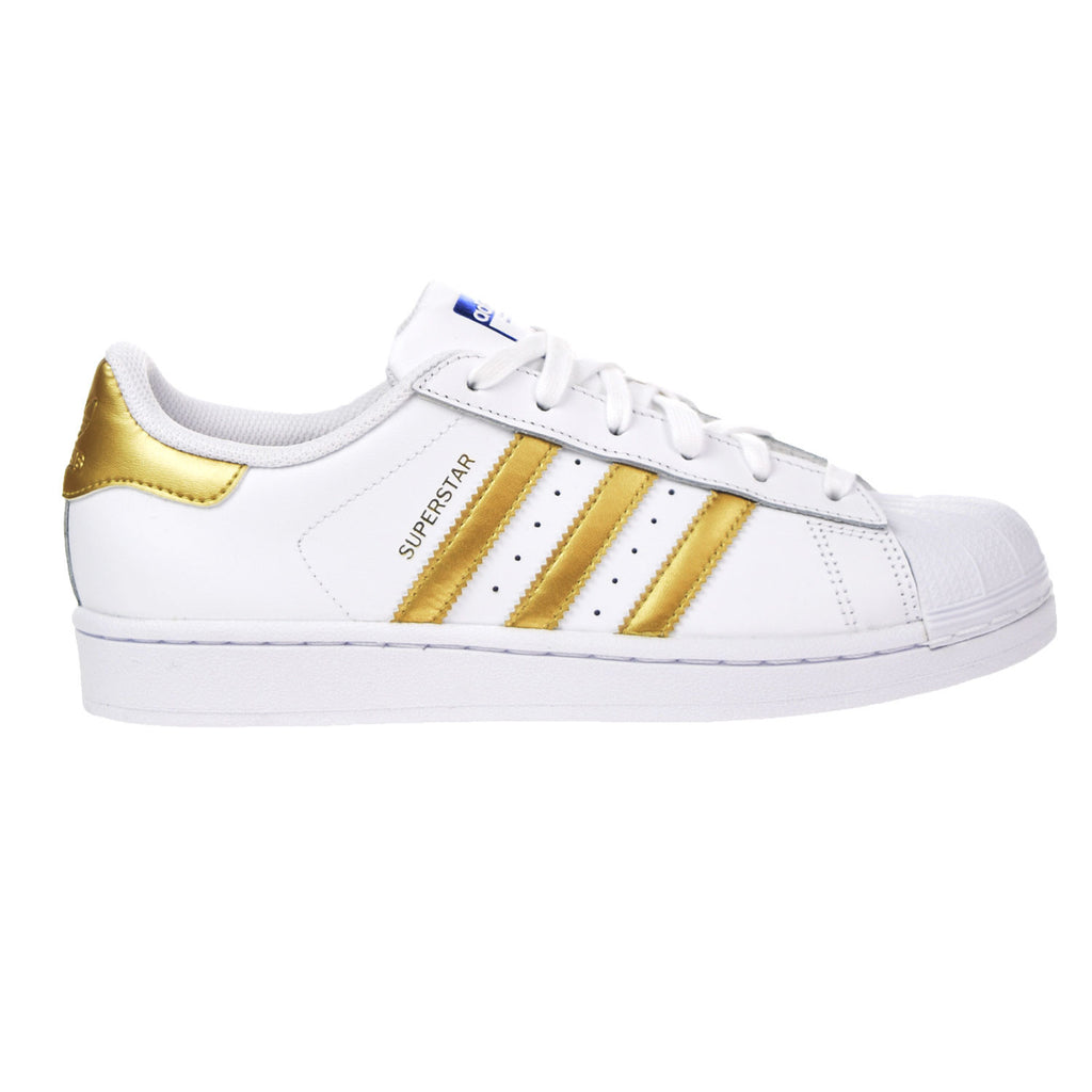 Adidas Originals Superstar J Big Kids Casual Shoes White/Metallic Gold/Blue/Scarlet