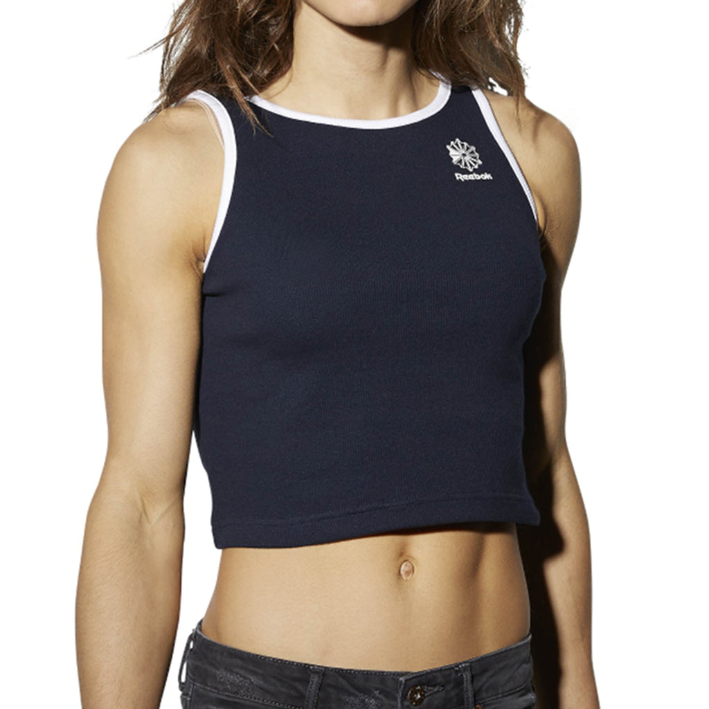 Reebok Athletic Casual Ribbed Women's Tank Top Navy/White