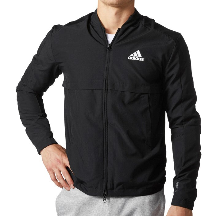 Adidas Men's Ripstop Bomber Full Zip Jacket Black/White