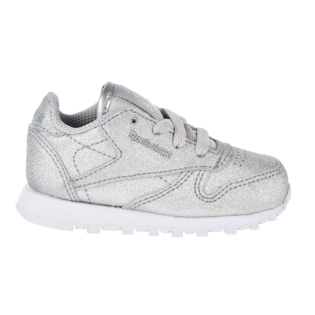 Reebok Classic Leather Syn Toddler's Shoes Silver Metallic/Snow Grey/White