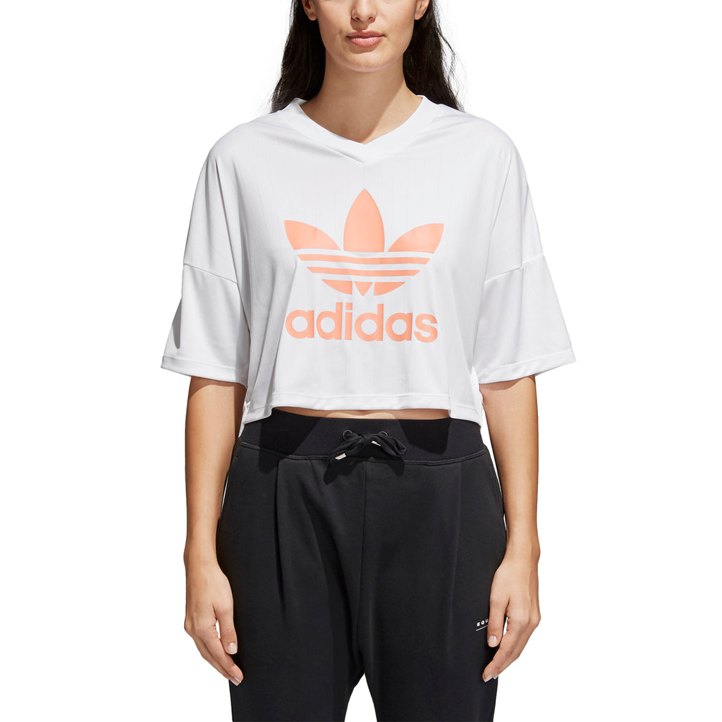 Adidas Women's Originals Trefoil Crop Tee White/Chalk Coral