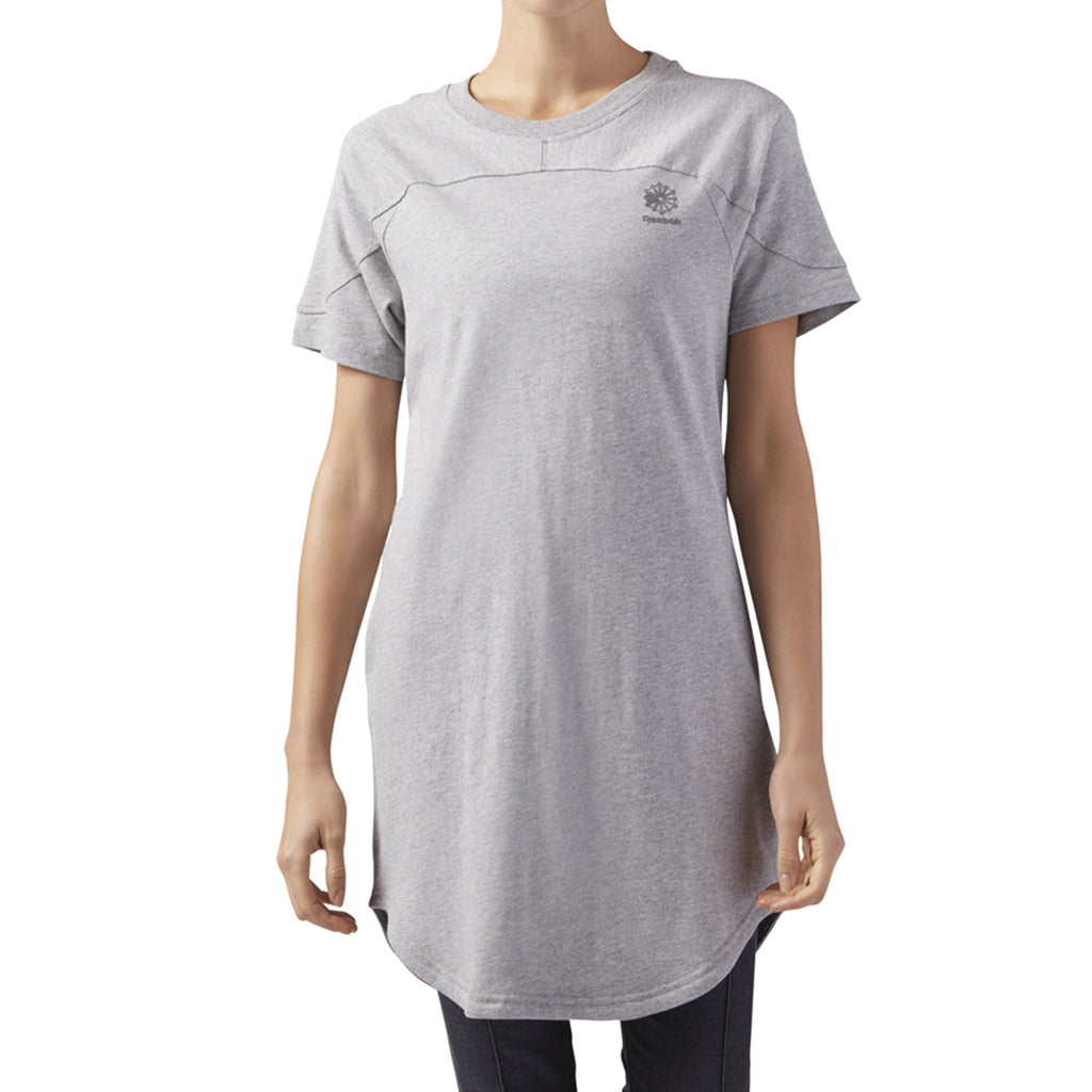 Reebok Classic Sportswear Women's Open Back T-Shirt Dress Medium Grey Heather