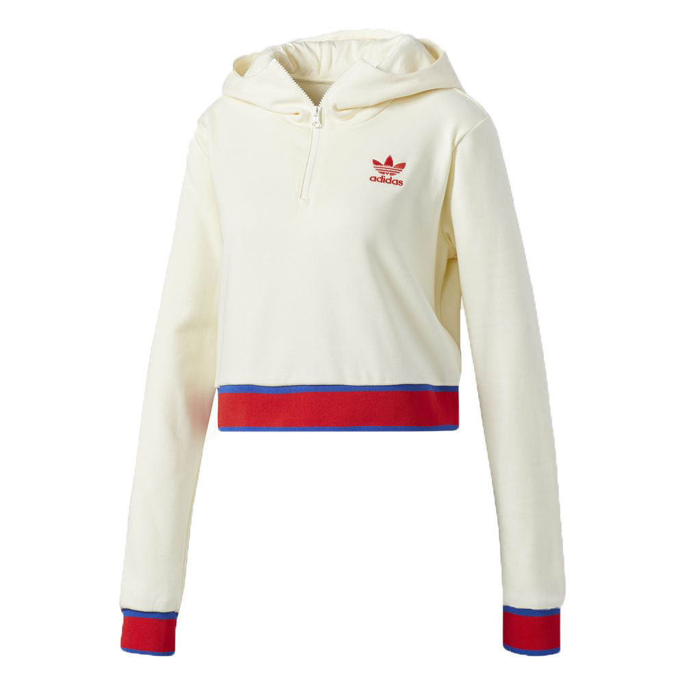 Adidas Originals Embellished Arts Women's Cropped Hoodie Cream White