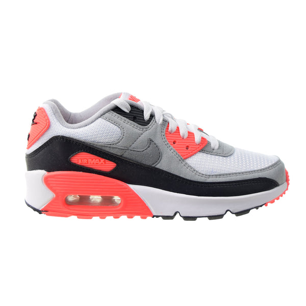 "Nike Air Max 90 QS ""Infrared"" (GS) Big Kids' Shoes White-Black-Cool Grey"