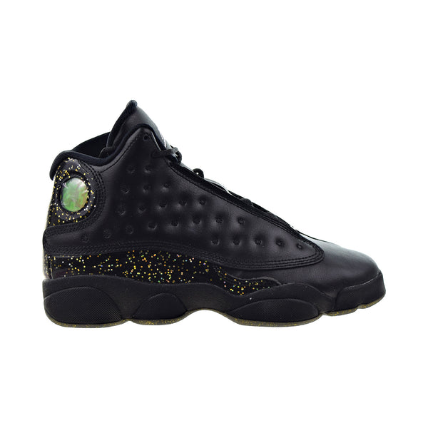 "Air Jordan 13 Retro ""Gold Glitter"" Big Kids' Shoes Black-Metallic Gold"