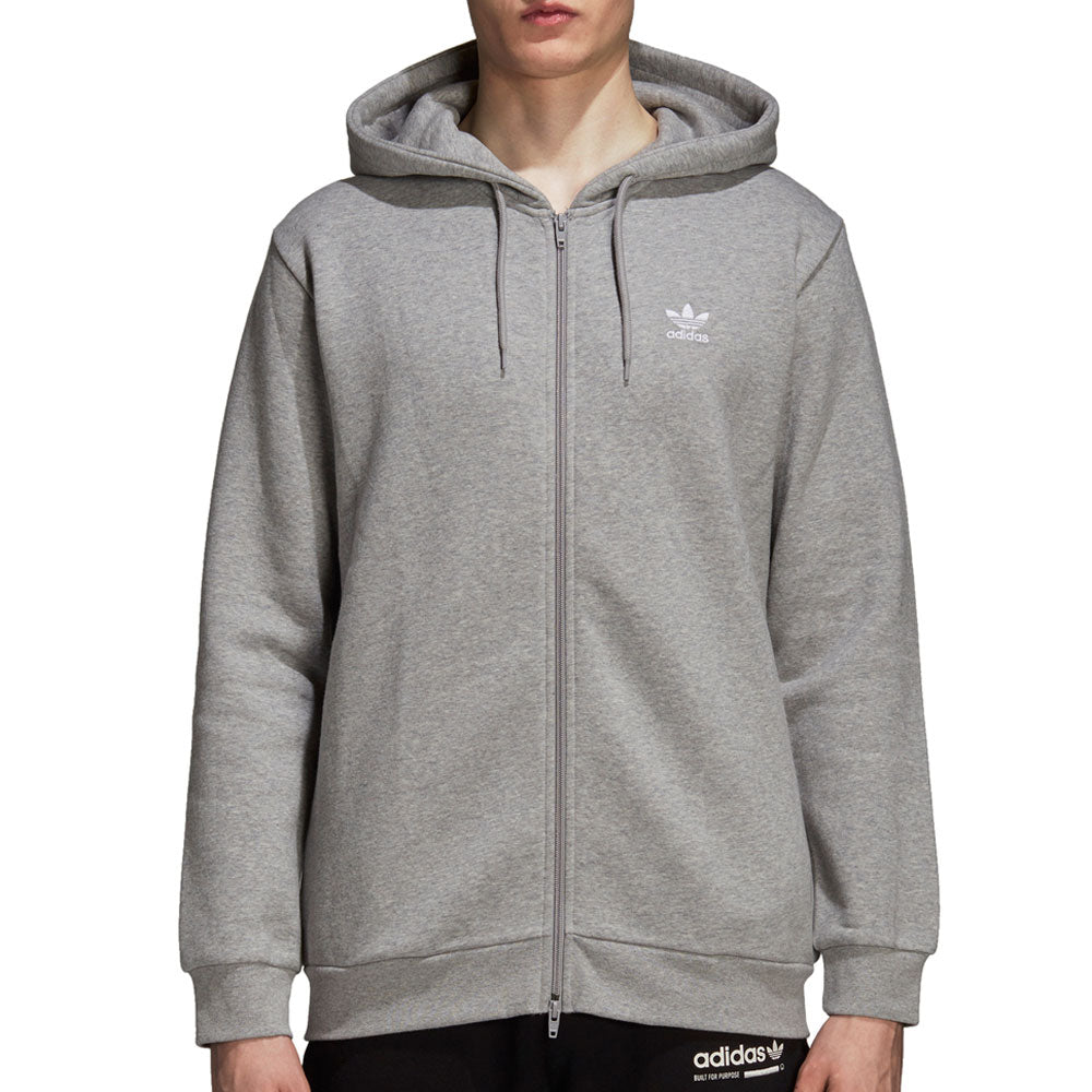 Adidas Originals Fleece Trefoil Men's Full Zip Hoodie Medium Grey Heather/White