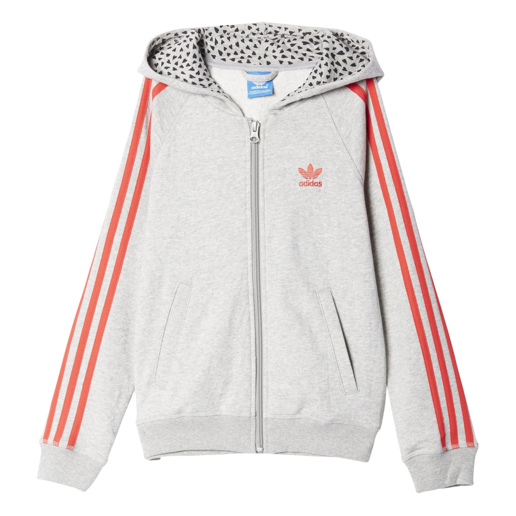 Adidas Originals YWF Trefoil Junior Girls Hoodie Medium Grey Heather/Red