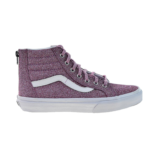 Vans Sk8-Hi Zip Lurex Glitter Big Kids High Top Shoes Pink-True White