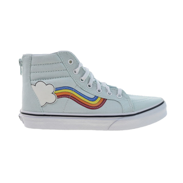Vans SK8-Hi Zip Rainbow Sidestripe Big Kids' Shoes Wan Blue-True White