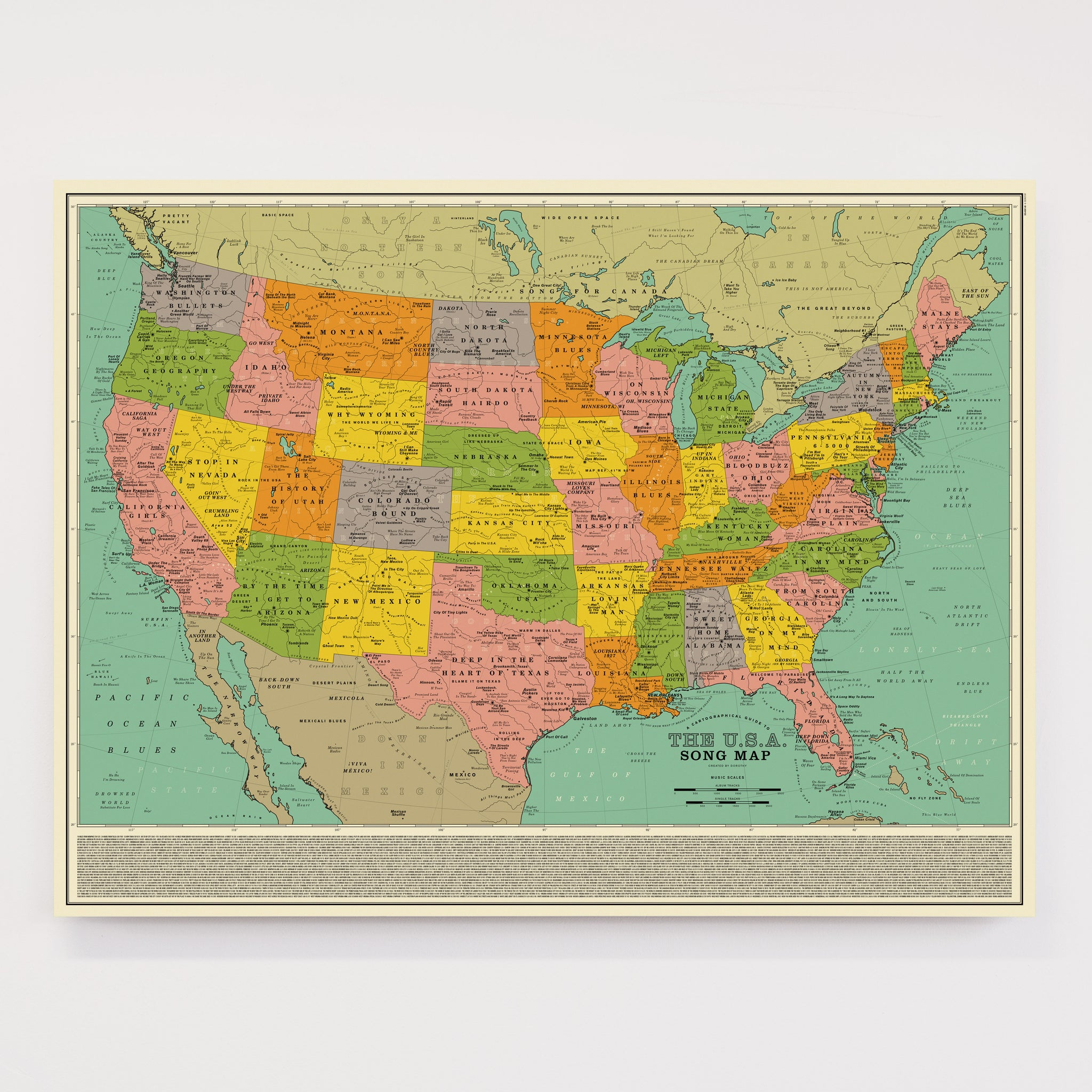 Real Map Of The United States.U S A Song Map Open Edition