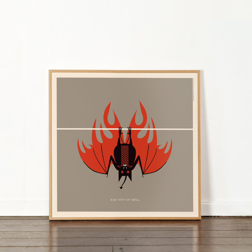 "Rock 'N Roll Zoo: Bat Out of Hell - 12"" Print"