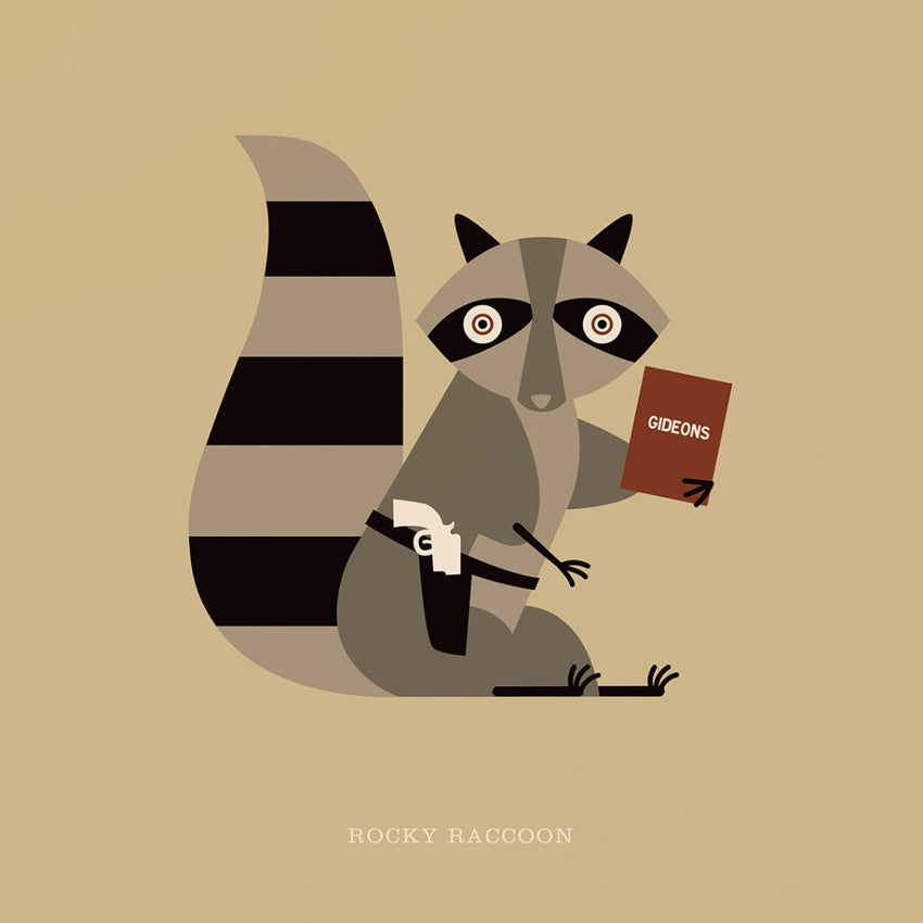 "Rock 'N' Roll Zoo: Rocky Raccoon - 12"" Print"