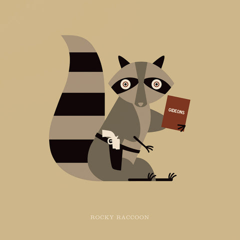 "Rock 'N Roll Zoo: Rocky Raccoon - 12"" Print"