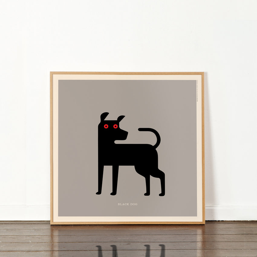 "Rock 'N Roll Zoo: Black Dog - 12"" Print"