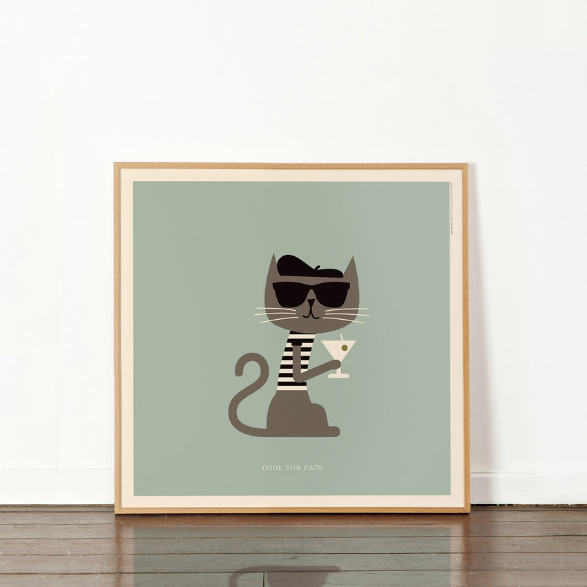 "Rock 'N Roll Zoo: Cool for Cats - 12"" Print"