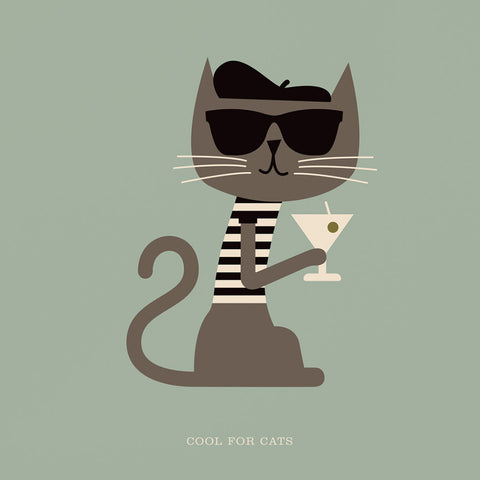 "Rock 'N' Roll Zoo: Cool for Cats - 12"" Print"