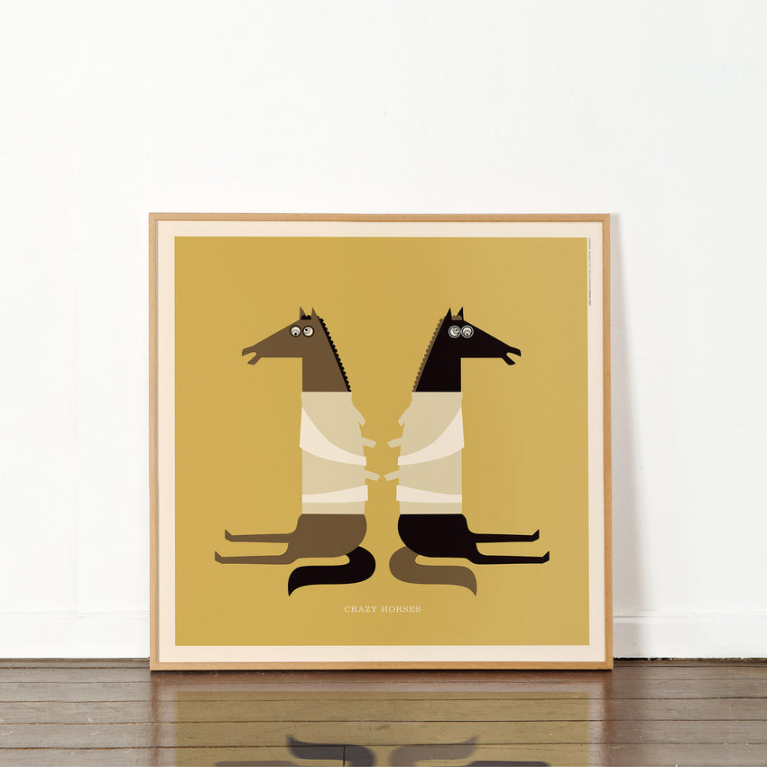 "Rock 'N Roll Zoo: Crazy Horses - 12"" Print"