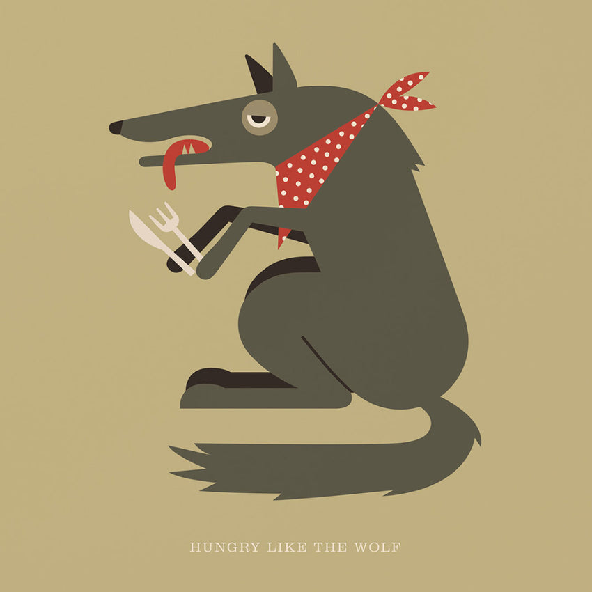"Rock 'N Roll Zoo: Hungry Like the Wolf - 12"" Print"