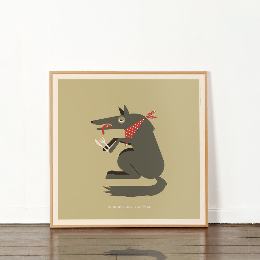 "Rock 'N' Roll Zoo: Hungry Like the Wolf - 12"" Print"