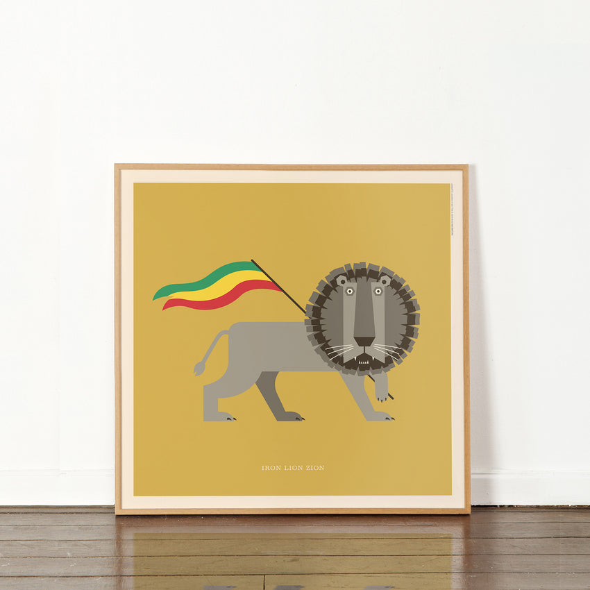 "Rock 'N Roll Zoo: Iron Lion Zion - 12"" Print"
