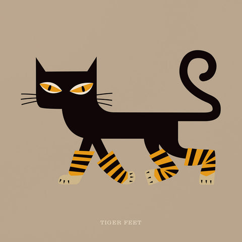 "Rock 'N' Roll Zoo: Tiger Feet - 12"" Print"