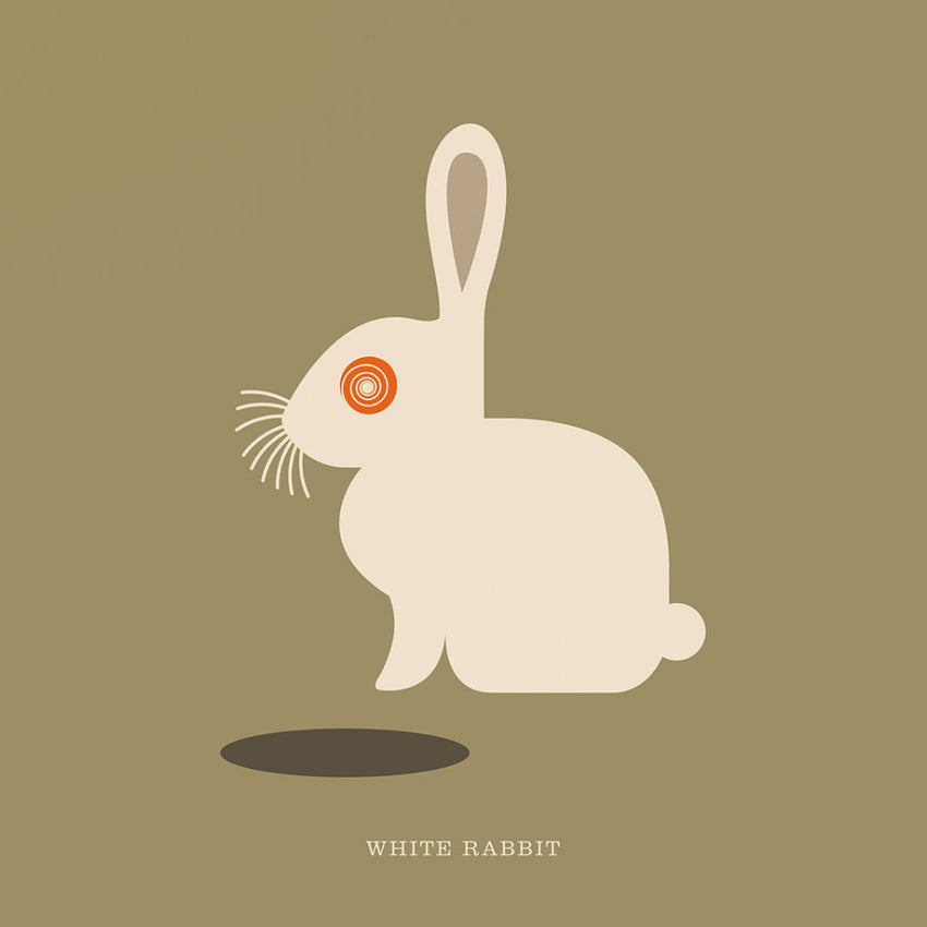 "Rock 'N Roll Zoo: White Rabbit - 12"" Print"