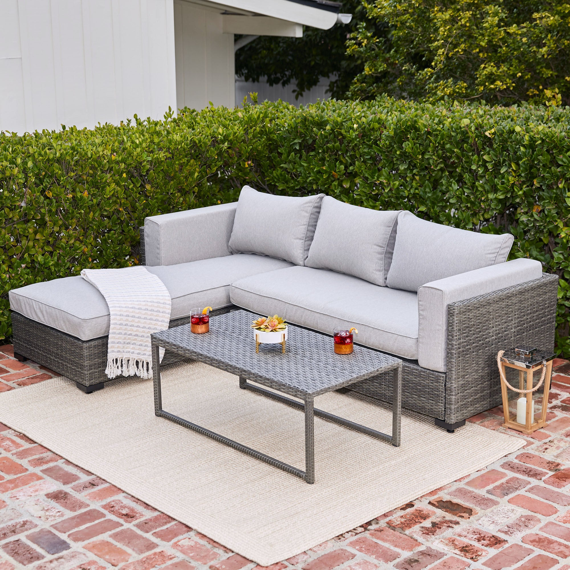 Modern Living 3 Piece Outdoor Sectional Cushion Wicker Furniture Set