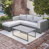 Modern Living 3-Piece Outdoor Sectional Cushion Wicker Furniture set
